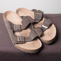 Men's Birkenstock Arizona Suede Leather Sandals Soft Footbed Gray 44 Eu / 11 Us Photo