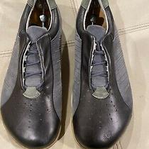 Mens Birkenstock Footprints Laceup Leather/suede Blue/gray Shoes Sz 12 Eur 45 Photo