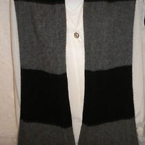 Men's Black & Gray Scarf Gap Label 78% Lambswool 22% Nylon Big Knit Scarf Long  Photo