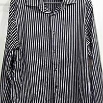 Men's Black/gray/white Striped Dress Shirt Size 16/16 & 1/2 Express Design  Photo
