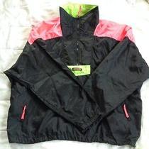 Men's Black/green/pink Columbia Nylon Radial Sleeve 1/4 Zip Jacket Size Xl Photo
