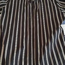Men's Black Striped Express Dress Shirt - Medium Photo