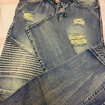 Men's Blue Denim Jeans Stamped Moto Biker Distressed 30 W 30 L Balmain Photo