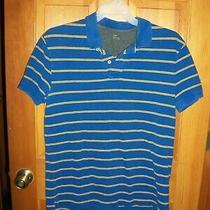Men's Blue & Yellow Striped Gap Short Sleeve Polo Shirt Size Large Photo