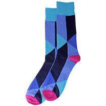 Men's Bright Color Blocked Prism Stripe Crew Socks Photo