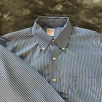 Mens Brooks Brothers 346 L/s Non Iron Dress Shirt Size 16 1/2 32/33 Blue White Photo