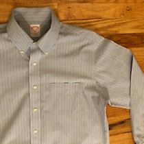 Mens Brooks Brothers 346  L/s  Non Iron Dress Shirt Size 16 34/35 Blue Striped Photo