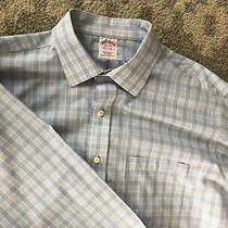 Mens Brooks Brothers Size 16 1/2 34 L/s  Non Iron Dress Shirt Blue Multicolor Photo