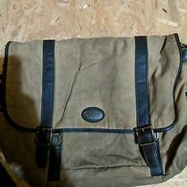Men's Brown Canvas and Leather Fossil Laptop Bag Used Photo