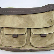 Men's Brown Fossil Laptop Work Bag Leather Trim   Photo