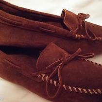 Men's Brown Minnetonka Moccasins Rough Leather Cowhide Driving Moccasin Shoe Photo