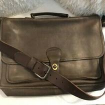 Men's Brown Soft Leather Coach Brief Case 10 X 15 X 3 Inches Photo