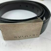 Men's Bulgari Bvlgari Reversible Black/brown Leather Belt W/ Logo Buckle 35-38