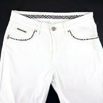 Men's Burberry White Trousers Breeches Cotton Long Shorts Size - L Photo