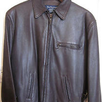 Men's Burberrys' Brown Belted Leather Bomber Jacket (Size m) Photo