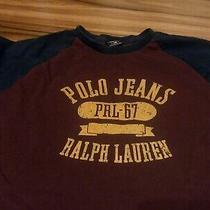 Men's Burgundy /gold/ Blue Ralph Lauren Polo Shirt Photo