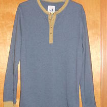 Men's Burton Dryride Henley L/s Shirt Super Soft Size Medium M Gray W Brown Trim Photo