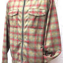 Men's Burton Softshell Jacket Plaid Red/gray/tan Large Fleece Zip-in Layer Hood Photo