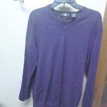 Mens Calvin Klein 100% Merino Wool Royal Purple Modern Fit Sweater L Photo