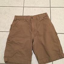 Men's Carhartt 6 Pocket Tan Beige Shorts Size 32 Waist 10 Inseam Canvas B147 Dkh Photo
