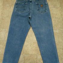 Men's Carhartt B17 Dst Sz 38x30 Relaxed Fit Straight Denim Blue Jeans Mea Same Photo