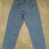 Men's Carhartt B17 Stw Sz 38x30 Relaxed Fit Straight Denim Blue Jeans Mea Same Photo