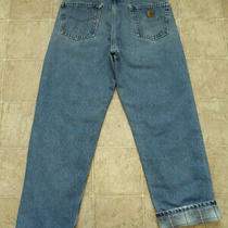 Men's Carhartt B172 Dst Size 33x32 Relaxed Fit Flannel Lined Blue Jeans 34x32 1 Photo