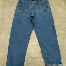 Men's Carhartt B172 Dst Size 33x32 Relaxed Fit Flannel Lined Blue Jeans 33x32 2 Photo