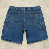 Men's Carhartt B28 Dps Size 38 Relaxed Carpenter Denim Blue Jean Shorts Mea 39x9 Photo