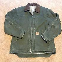 Men's Carhartt Barn Jacket Coat Green With Brown Trim Large Photo