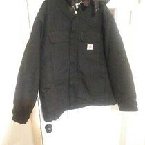 Men's Carhartt Black Hooded Heavy Insulated Work Coat Sz 52 Tall Quilted Hooded Photo