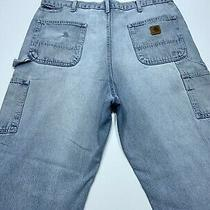 Mens Carhartt Carpenter Blue Jeans B13 Dst Distressed Faded Pants Size 38x30 Photo