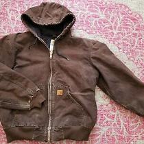 Men's Carhartt Duck Quilted Active Winter Jacket Size Medium Brown  Photo