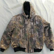 Men's Carhartt Hoodie Camo Size L Tall Brown Hooded Duck Canvas Realtree Jacket Photo