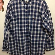 Men's Carhartt Outdoor Wear Flannel Shirt Large Regular Blue Plaid Photo