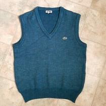 Men's Chemise Lacoste Vtg Knit Vest Gilet Jumper Blue Wool Blend Size 4 Medium Photo