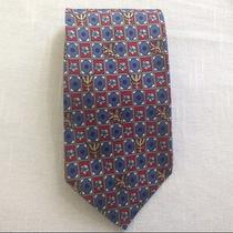 Men's Christian Dior Monsieur Tie Silk Dark Red Blue Pattern Nice Dress Work Tie Photo
