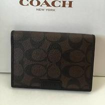 Men's Coach Signature Passport Case Holder Wallet F68667 Mahogany/brown Photo