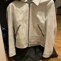 Mens Coach White Leather Jacket 100% Authentic New W/ Tags Size 50 Uk Photo