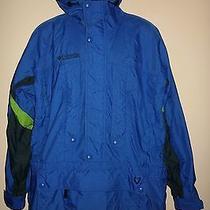 Men's Columbia Blue Half Zip Pullover Hooded Windbreaker Jacket Size Medium Euc Photo