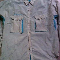 Men's Columbia Ls Beige Nylon Heavy Mesh Lined Fishing Shirt  Radial Sleeve - L Photo