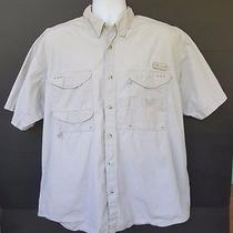Men's Columbia Sportswear Tan Beige Khaki Vented Fishing Hunting Shirt Size L Photo