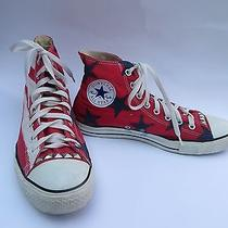 Men's Converse Size 9 Red White and Blue Hand Painted Photo