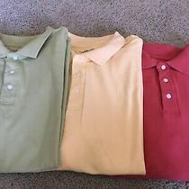 Mens Croft and Barrow Polo Shirt Sleeve Shirts Size L Green Yellow Blush Photo