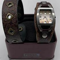 Men's Dark Brown Genuine Leather Capital Junk Yard Watch by Fossil Photo