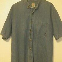 Men's Dickeis Size Xl Blue Denim Button Front Short Sleeve Shirt Photo