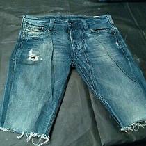 Men's Diesel Timmen Faded Distressed Blue Denim Jean Cut Off Shorts Size 29 X 10 Photo