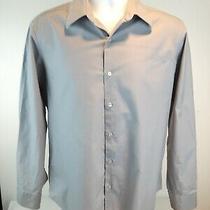 Men's Dkny Size 15 1/2 - 32/33 Medium Slim Fit Gray Long Sleeve Dress Shirt Photo