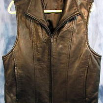 Men's Donna Karan New York Black Leather Vest Size Large Moto Bike Dkny Photo