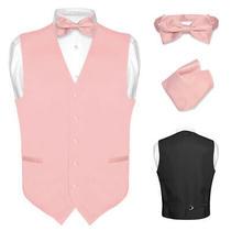 Men's Dress Vest Bowtie Hanky Blush Dusty Rose Pink Bow Tie Set Suit Tux Small Photo